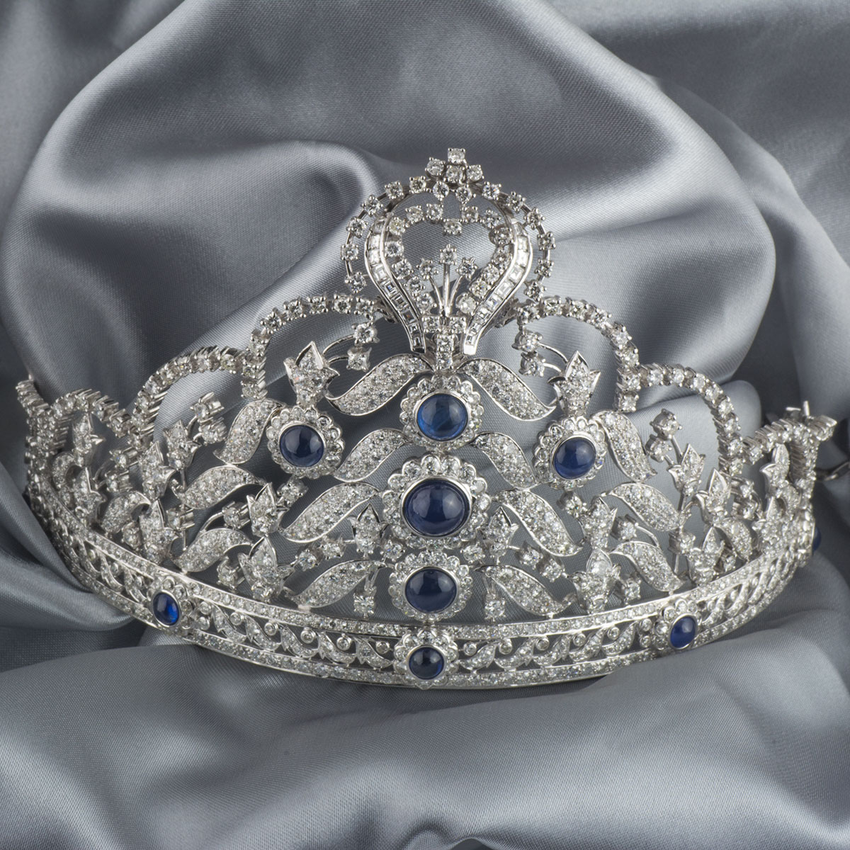 White Gold Diamond And Sapphire Tiara Rich Diamonds Of